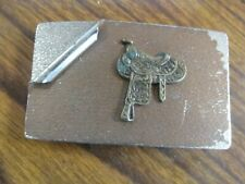 Vintage  Nickel Silver Western Belt Buckle, With Saddle collectable western