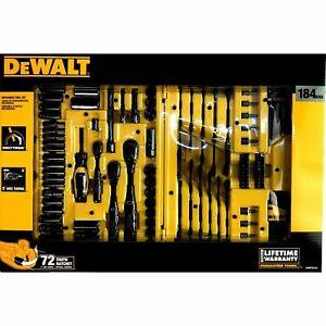 DEWALT Drive Socket Set for Mechanics, Black Chrome Polish, 184-Piece with Case