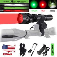 "Green/Red/ White Hunting Flashlight Light Kit w/ 1"" 30mm Scope Mount Coyote Hog"
