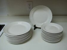 Gibson Stoneware White Bands ~ 23 Piece Plate Set ~ Dinner u0026 Salad & Gibson Banded Dinnerware Plates | eBay