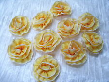 "Lot of 12 Yellow Ombre Ribbon Flowers, Millinery, Dolls, Ribbon Work, 2 1/2"" ea"