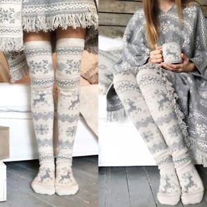 Women Christmas Snowflake Elk Socks Thigh High Long Stockings Warm Winter Knitte