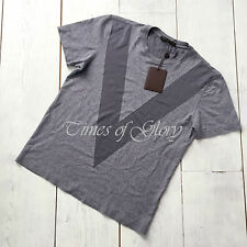 NEW Auth Louis Vuitton 2015 Mens V LOGO Grey Cotton Silk T-Shirt Top Size Small