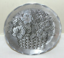 Wendell August Woven Basket of Pansies Coaster 4-3/8 in / Hammered  Aluminum