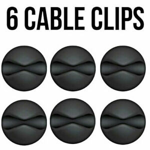 6x Black White Cable Wire Cord Lead Drop Clips USB Charger Holder Tidy Desk Orga