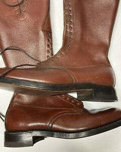 Vintage RCMP Royal Canadian Mounted Police LEATHER RIDING BOOTS 12 E  W/ Spurs