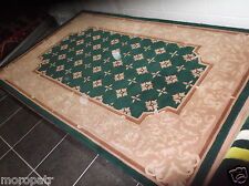 CHINESE SAVONERRIE,  8' x 5', BRAND NEW,  PURE WOOL,  BOTTLE GREEN....FREE DEL.