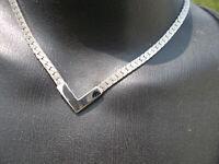 """15"""" Vintage Retro Silver Tone Delta V Herringbone Chain Necklace"""