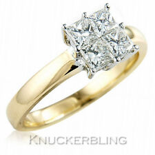 Princess Cluster Natural Yellow Gold Fine Diamond Rings