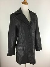Adler Collection Womens S Small Black 100% Genuine Leather Logo Button Jacket