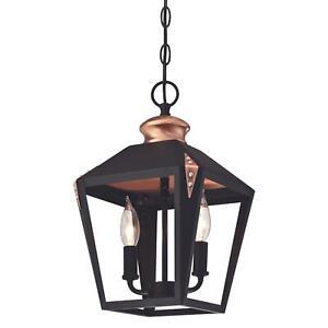 Pendant Ceiling Light Fitting Antique Style Lantern Valery Black Copper E14 Lamp