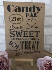 21st Personalised 21 Sweet Table Candy Bar Birthday Party Sign Kraft/White