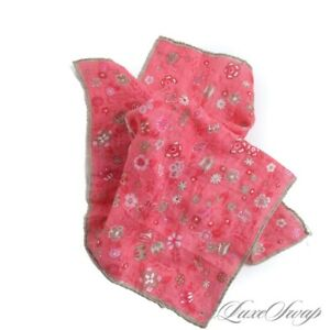 SUMMER Anonymous Linen Feel Coral Pink Mocha Border Large Floral Pocket Square