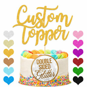 PERSONALISED Cake Topper Custom Any Word Name Birthday Glitter Decoration Gold