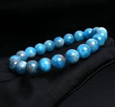 Apatite Crystal Round Beads Bracelet 9.2mm Natural Gem quality Light Blue