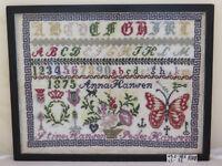 ANTICO IMPARATICCIO RICAMO MEZZOPUNTO 1875 Sampler Needlework CROSS STITCH R108