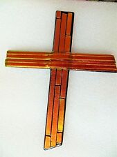 "9"" Hand-Made Dichroic Fused Glass Cross"