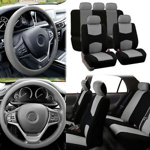 Flat Cloth Car Seat Covers Gray Black 2 Row Set w/ Silicone Steering Wheel Cover