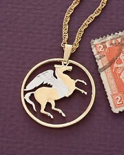 "Pegasus Pendant and Necklace, Hand cut Gree Coin Jewelry 1"" diameter, ( # 144 )"