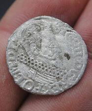 KING SIGISMUND III HAMMERED MEDIEVAL POLISH SILVER 3 GROSZ COIN
