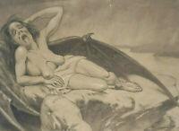 Liegende nackte Frau mit offenem Mund in erotischer Pose