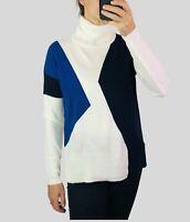 Womens Ladies Black Blue Cream Colour Block Roll Neck Chevron Cosy Knit Jumper