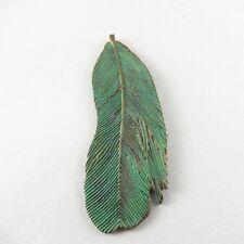 10X Antike Grün Bronze Feder Form Legierung Handwerk Anhänger Charme Schmuck