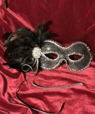 Venetian Black Satin Feather Mask Mardi Gras Glasses Style