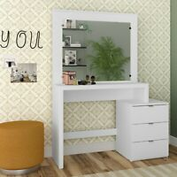 Modern Vanity Table with Mirror and 3 Drawers, White finish
