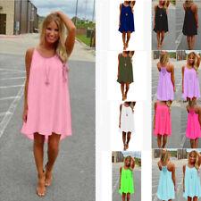 Women Summer Crew Neck Sleeveless Halter Dress Solid Grid Casual Loose Sundress