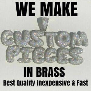 Custom Bubble Letter Name Pendant Diamond ICED Rapper Bust Down Icy Piece Chain