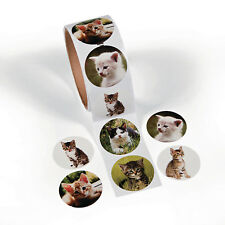 Roll of 100 CAT KITTY KITTEN Stickers Birthday Party Favor RESCUE TEACHER SUPPLY