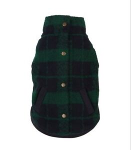 "FabDog Plaid Boucle Dog Coat- Green/Navy 10"" ~ NEW ~ Free Shipping"