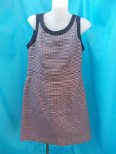 LADIES BLACK/ BROWN & WHITE CHECK WEAVE FULLY LINED DRESS-SZ 14 VGC
