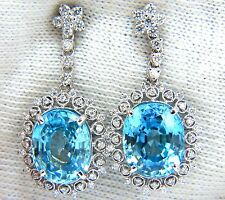 12.46ct Natural Bright vivid indigo blue zircon diamond earrings 14kt edwardian+