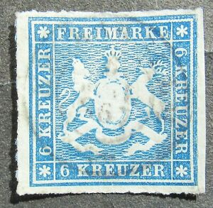 Wurttemberg 1865 Coat of Arms, thin paper, light to dark blue, #32 used