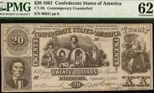 1861 $20 CONFEDERATE STATES CONTEMPORARY COUNTERFEIT CIVIL WAR NOTE CT-20 PMG 62