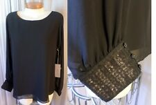 NWT NEW XL Black Lady Blouse Top Jennifer Lopez Woman Sequin Long Sleeves 14 16