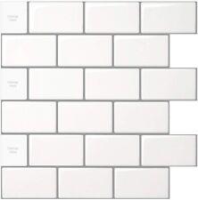 White Peel and Stick Tile Backsplash Kitchen 3D Wallpaper 10 Sheets 12x12 inches