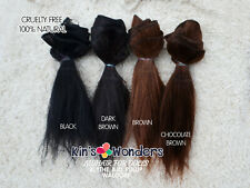 Mohair Wefted Straight Doll natural Goat hair Reroot Black Blythe BJD Waldorf