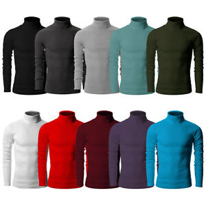 Korea Mens Cotton Turtle Neck Polo Turtleneck Sweater Stretch jumper S M L XL
