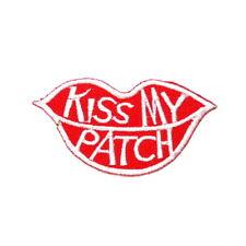 Kiss my Patch Lips Kiss Mark Retro Joke funny Clothes Shirt Jacket Iron on Patch