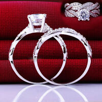 Engagement Wedding 4Size Womens Lady Gemstone CZ Ring Set Band Rings Jewelry CHI