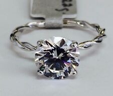 14K Solid White Gold Twist Rope Solitaire Cubic Zirconia Engagement Ring CZ 2ct