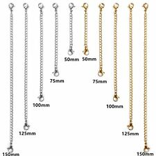 "Fashion 10pcs Stainless Steel Bracelet Necklace Extender Chain Set-2"",3""4"",5"",6"""