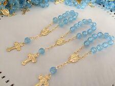 50Mini Rosary BLUE Baptism Favors /gold/ Communion Favors/ Recuerdos De bautizo