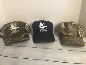 Three Delta Waterfowl Camouflage & Blue /Adjustable Adult Baseball Ball Cap Hat