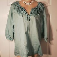 Womens Size Small TALBOTS Turquoise V Neck Shirt Top 3/4 Sleeve Ruffle Line Neck