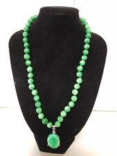 Carved 8mm Natural Green Stone Jade Look Bead Necklace &25mm Rhinestone Pendant