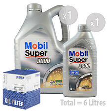 Engine Oil and Filter Service Kit 6 LITRES Mobil Super 3000 X1 FE 5w-30 6L